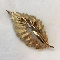 1960s Leaf Brooch Gold Plated Metal Vintage Pin Vintage Jewellery