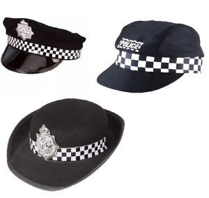 LADIES MES'S POLICE BLACK COPPER ADULT HAT FANCY DRESS PARTY COP CAP ACCESSORY