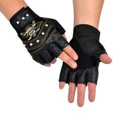 PU Leather Skull Punk Driving Motorcycle Biker Fingerless Gloves US