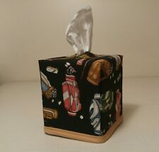 New!!  Golf Print Tissue Box Cover (square) Handmade