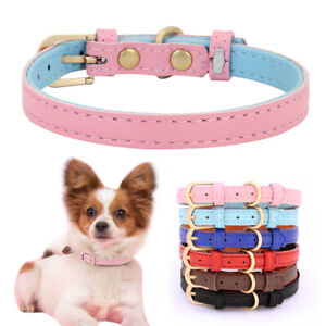 Leather Cat Collar Small Dog Pet Puppy Soft Padded Collars for Chihuahua Yorkie