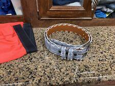 Mint Piedmont Leather By Jacob Hill Genuine Crocodile Belt Gray White Stitch 40