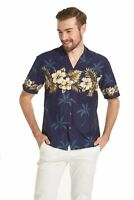 Made in Hawaii Men Aloha Shirt Luau Cruise Party Golden Hibiscus Cross Navy
