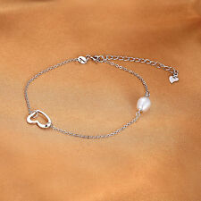 Lovely Freshwater Pearl and Silver Heart Anklet Pendant Solid Sterling Silver