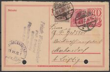 German Reich 1922 ☀ interesting old stationery postcard Pforzheim to Leipzig