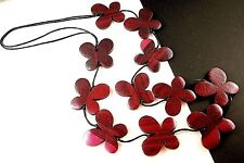 1 Hand Carved & Painted Crimson Pink Wood Butterflys Statement Necklace - # B274