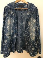 Live A Little Denim Floral Hooded Jacket Size L