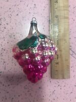 Vintage Christmas Ornament Mercury Glass Pink Grapes Fuschia Green