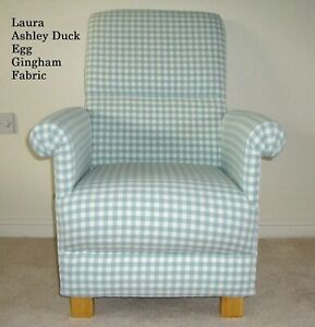 Laura Ashley Duck Egg Gingham Fabric Adult Chair Armchair Checked Green Blue New