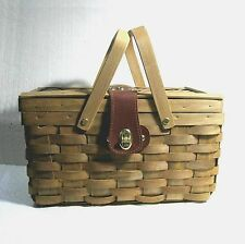 """Picnic basket woven wood, cover lining leatherette clasp metal hinges 12.5"""" á´® Z2"""