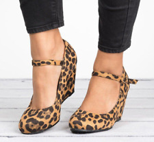 Womens Leopard Wedge Heels Ankle Straps Casual Pumps Round Toe Simple Shoes ER43