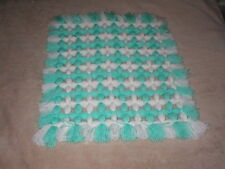 HAND MADE NONE POMPOM  BABY CRIB BLANKET MINT GREEN & WHITE SIZE 20 BY 18in APPX