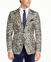 Tallia Men's Slim-Fit Black Cream Leopard Metallic Dinner Jacket  Choose size