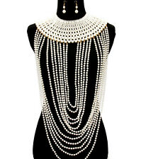 "22"" white pearl body chain celebrity basketball wives bib collar necklace bridal"