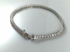 "925 Sterling Silver Solid Heavy Ladies CZ Tennis Bracelet 7.5"" 9.5gr Hallmarked"