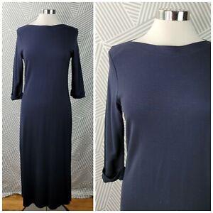 Talbots Womens Size Small Petite Black Stretch Maxi Dress LBD 3/4 Sleeve Maxi