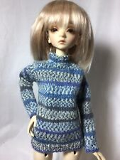 Bjd-Msd 1/4 Blue And Gray Beautifully Knitted Long Sleeve Sweater~Never Used!