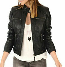 Women Leather Jacket Black Slim Fit Biker Motorcycle lambskin Jacket