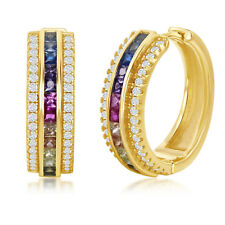 3.40 carat Rainbow Inside-Out Hoop Earrings in 14K Gold Plated and White Gold