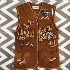 Vintage Cedars Sport Leather Suede Vest Ducks Medium 100% Leather New Mallards