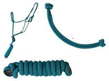 BLUE/EMERALD COWBOY SWIRL KNOT ROPE HALTER WITH 7' LEAD
