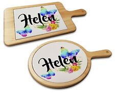 Personalised Beautiful Butterflies & Flowers Cheese Board Food Platter