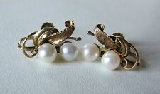 VINTAGE 1950-1960s EARRINGS SCREW-ON 14K ROSE GOLD & AKOYA CULTURED PEARLS (6MM)