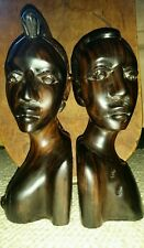 Vintage African Carved Marbled Ebony Busts Book Ends. Man & Woman.