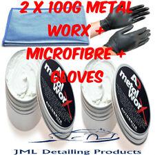 AUTOBRITE DIRECT 2 X 100G METAL WORX CAR BIKE EXHAUST METAL POLISH+MICROFIBRE+GL