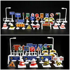 28Pcs Car Toy Accessories Traffic Road Signs Kid Children Play Learn Toy Game