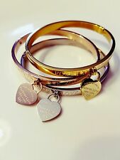 Forever Love Charm Bangle Bracelet, Gold, Rose Gold, Silver