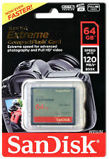 SANDISK Extreme 64 GB CF Compact Flash Memory Card 64G 120MB/s UDMA 7 800x