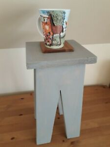 Small pine wood cracket, side table, end table, light grey