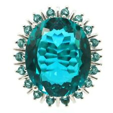 Big Oval Gemstone Rich Blue Aquamarine CZ Woman's Gift Silver Ring 9.25