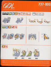 GOL linhas aerea Brazil airlines Safety Card B737 800 old logo sc656 aa