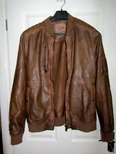 **ASHES  TO DUST**  isle of dogs TAN  leather BOMBER STYLE   jacket  XL