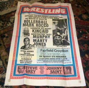 vintage British Wrestling poster - Rollerball Mark Rocco, Kincaid, Marty Jones
