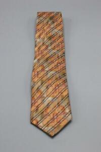 """Recent ERMENEGILDO ZEGNA Silk Tie. Orange w Brown Floral. 59"""" x 3.5"""""""