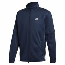 adidas ORIGINALS MEN'S SNAP TRACK TOP JACKET NAVY BLUE RETRO STYLE TREFOIL NEW