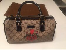 Gucci Monogrammed Canvas Purse - Brown Leather - Tattoo Heart Joy Mini - NEW
