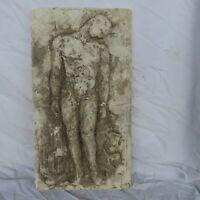 Sculpture ancienne bas-relief en plâtre homme nue,objet de décoration