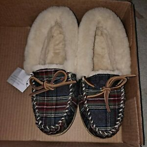 Women's LL Bean Wicked Moccasins Slippers Plaid  8M  (Read Description)