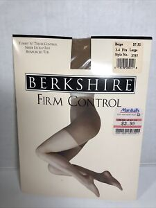 Berkshire Firm Control Reinforced Toe Pantyhose Beige Size 3-4 Large USA Made