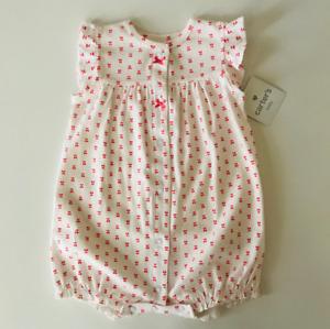 Carter's Baby Girl 18 Months Snap Up Cherry Print Romper Short Sleeves Summer