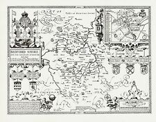 BEDFORDSHIRE County Map in1610 by John Speed - Uncoloured