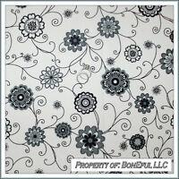 BonEful Fabric FQ Cotton Quilt B&W White Black Snow Gray Dot Flower Swirl Scroll