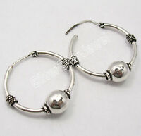 VINTAGE STYLE JEWELRY !! 925 Sterling Silver India TRIBAL HOOP Earrings 1.4 Inch