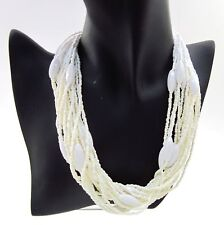 New listing Multi Strand White Seed & Long Beads Beaded Necklace & Earrings ~ 20 Strands
