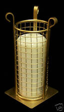 VINTAGE BRASS TONE MESH CANDLE HOLDER WITH WHITE CANDLE
