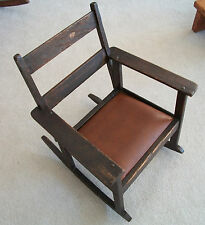 Antique Arts & Crafts CHILD'S ARM ROCKER - MISSION DARK OAK - Tiger Grain